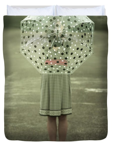 Polka Dotted Umbrella Duvet Cover by Joana Kruse