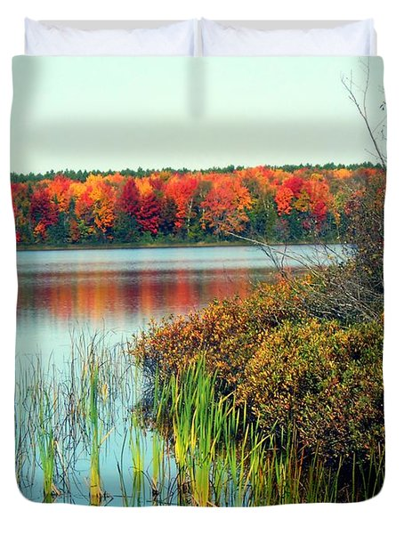Pond In The Woods In Autumn Duvet Cover