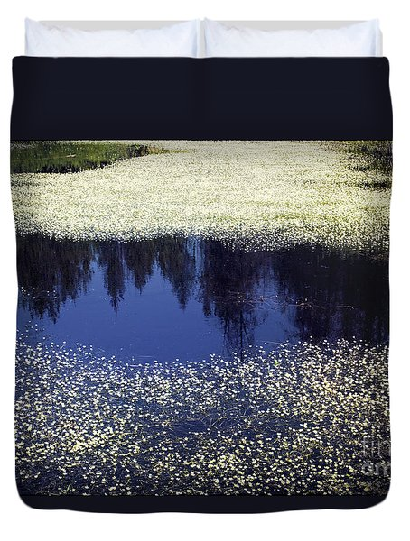 Duvet Cover featuring the photograph Pond Of Blooms by Janie Johnson