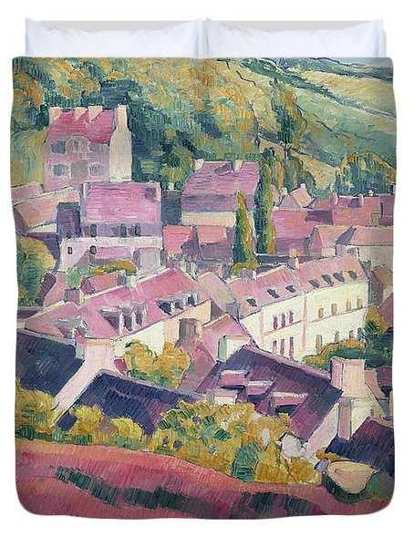 Pont Aven Seen From The Bois D'amour Duvet Cover by Emile Bernard