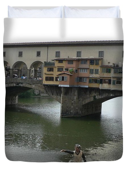 Duvet Cover featuring the photograph Ponte Vecchio by Laurel Best