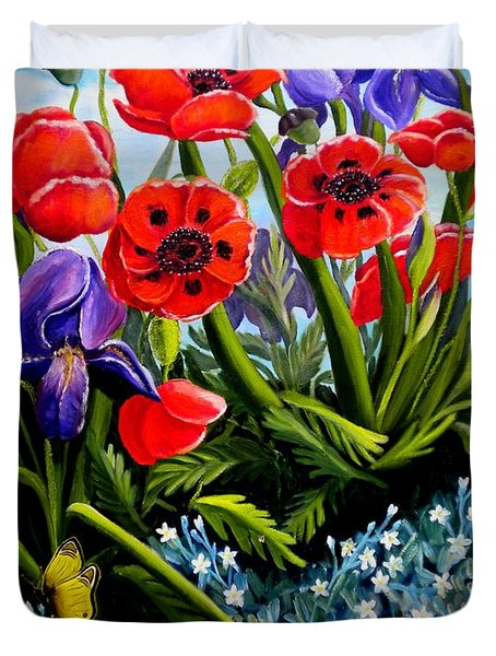 Poppies And Irises Duvet Cover