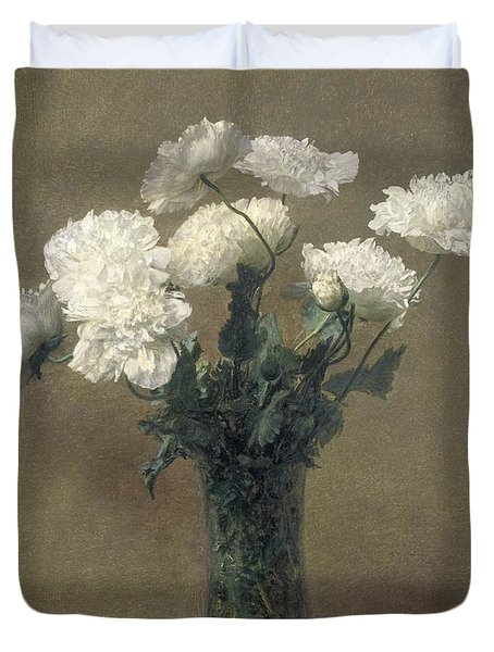 Poppies Duvet Cover by Ignace Henri Jean Fantin-Latour