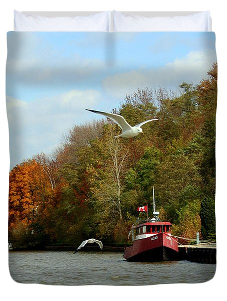 Duvet Cover featuring the photograph Port Dover Harbour by Barbara McMahon