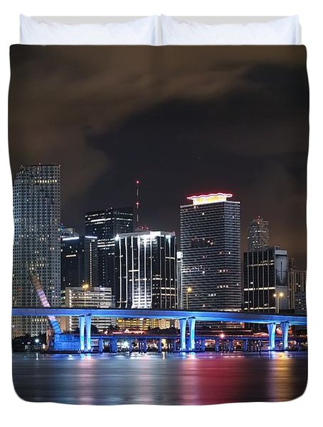 Port Of Miami Downtown Duvet Cover