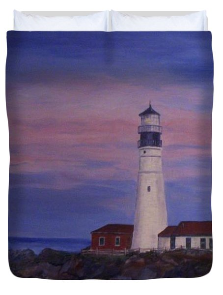 Duvet Cover featuring the painting Portland Head Lighthouse At Dawn by Julie Brugh Riffey