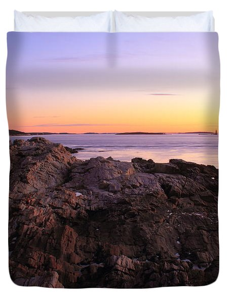 Portland Head Lighthouse Seascape Duvet Cover by Roupen  Baker