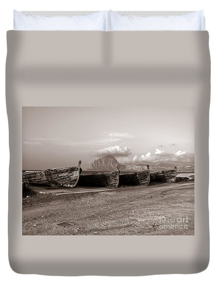 Old Port Of Trapani Duvet Cover