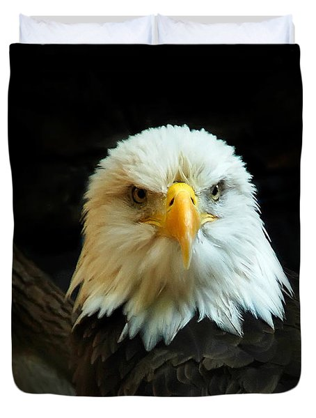 Duvet Cover featuring the photograph Portrait American Bald Eagle by Randall Branham