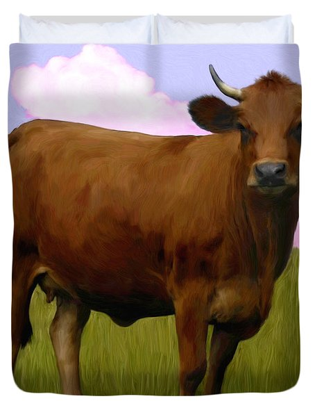 Portrait Of A Cow Duvet Cover by Snake Jagger