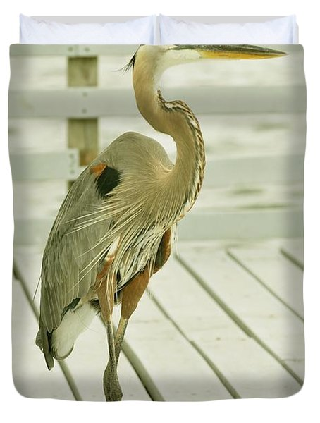 Portrait Of A Heron Duvet Cover by Rick Frost