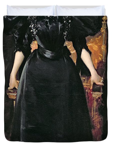 Portrait Of A Lady In Black Duvet Cover by William Merritt Chase