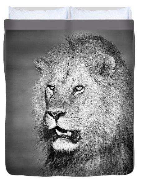 Portrait Of A Lion Duvet Cover by Richard Garvey-Williams