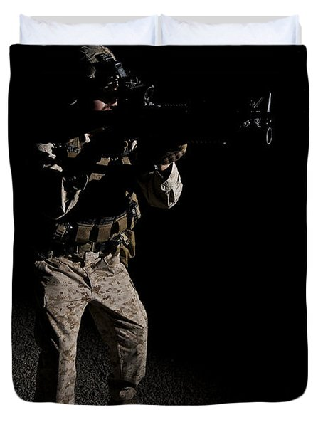 Portrait Of A U.s. Marine In Northern Duvet Cover by Terry Moore