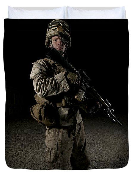 Portrait Of A U.s. Marine Duvet Cover by Terry Moore