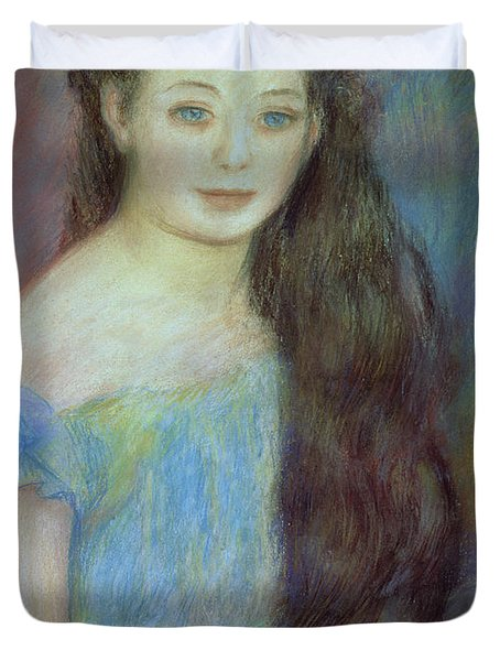Portrait Of A Young Girl With Blue Eyes Duvet Cover