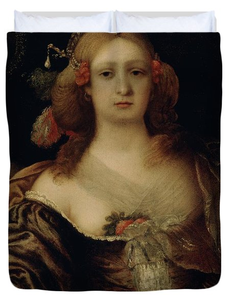 Portrait Of A Young Woman  Duvet Cover by Girolamo Forabosco