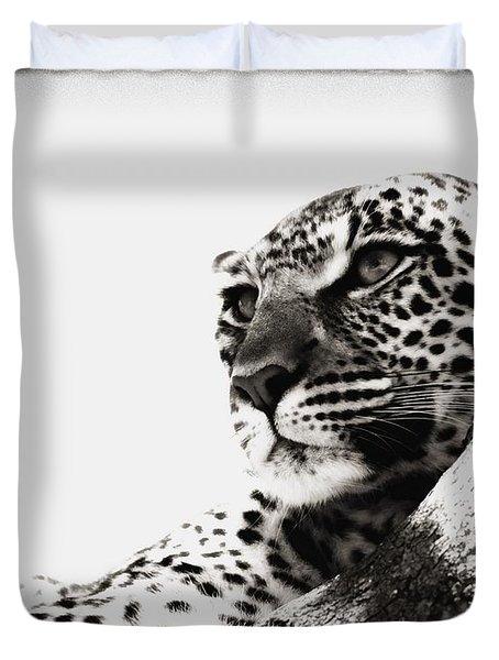 Portrait Of An African Leopard Duvet Cover by Carson Ganci