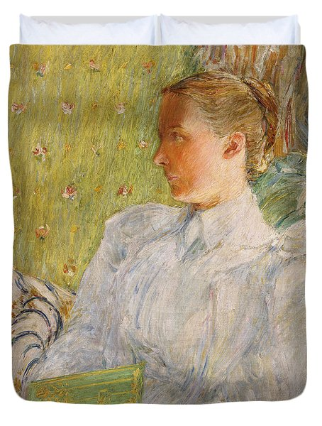 Portrait Of Edith Blaney Duvet Cover by Childe Hassam