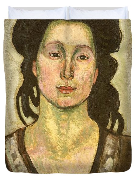Portrait Of Jeanne Cerani Duvet Cover by  Ferdinand Hodler