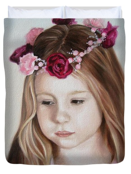 Duvet Cover featuring the painting Portrait Of Kristinka by Jindra Noewi