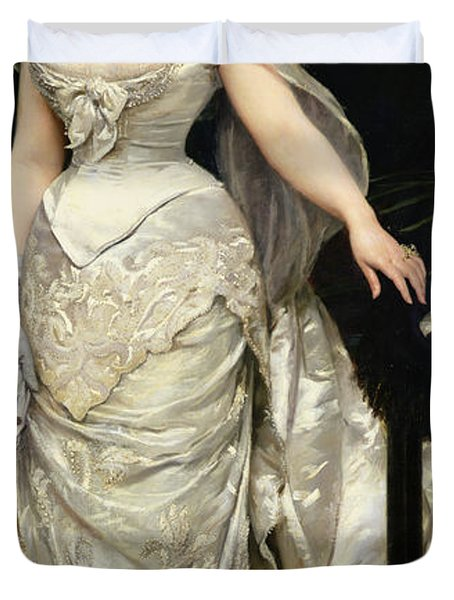 Portrait Of Mademoiselle X Duvet Cover by Charles Emile Auguste Carolus Duran