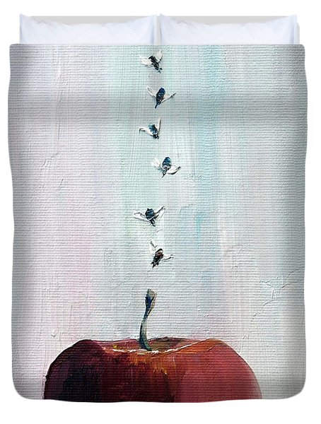 Portrait Of Seven Flies Flying Over An Apple Duvet Cover by Fabrizio Cassetta