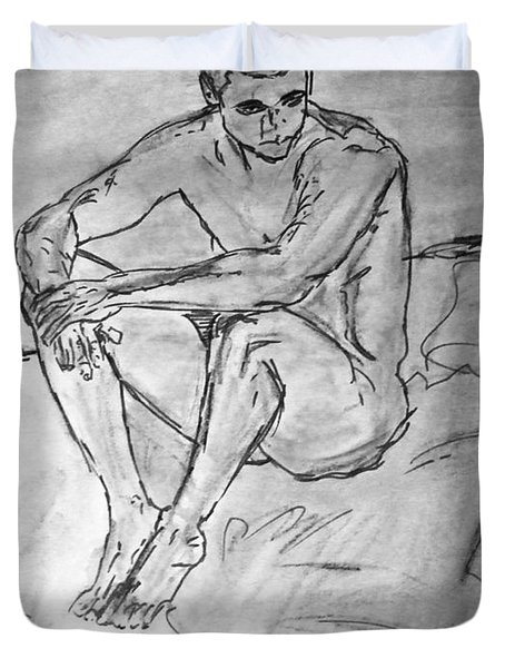 Duvet Cover featuring the painting Portrait Of Thinking Young Male Seated Figure Nude Watercolor Painting Monochrome Black White Sketch by M Zimmerman
