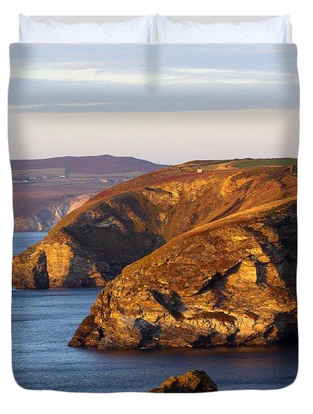 Portreath North Cliffs Duvet Cover by Ken Brannen