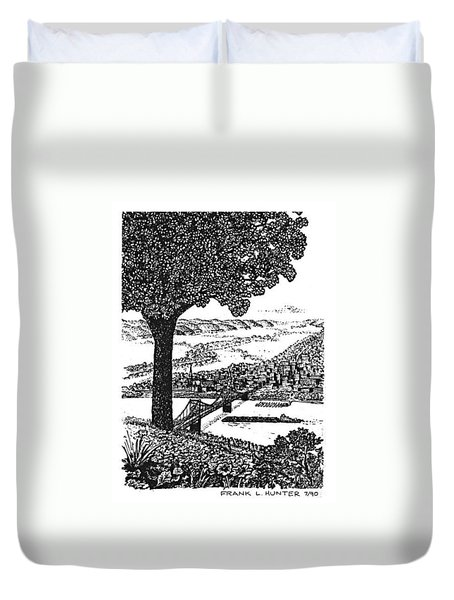 Portsmouth Ohio From A Kentucky Hill Duvet Cover by Frank Hunter