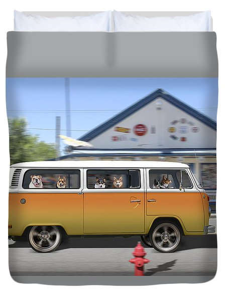 Postcards From Otis - Road Trip  Duvet Cover by Mike McGlothlen