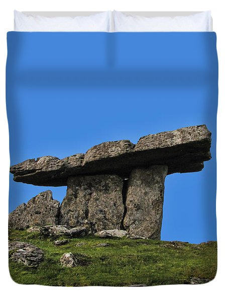 Duvet Cover featuring the photograph Poulnabrone Dolmen by David Gleeson