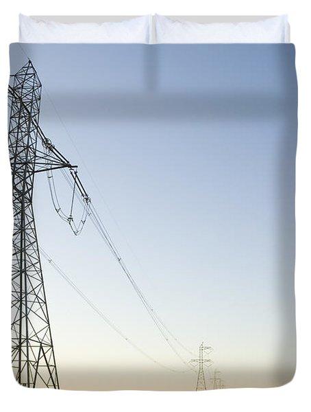 Powerlines Jepson Prairie Preserve Duvet Cover by Sebastian Kennerknecht