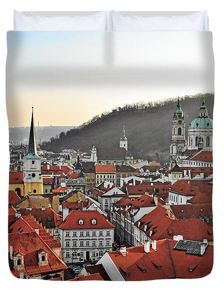 Prague - A Story Told By Rooftops Duvet Cover by Christine Till