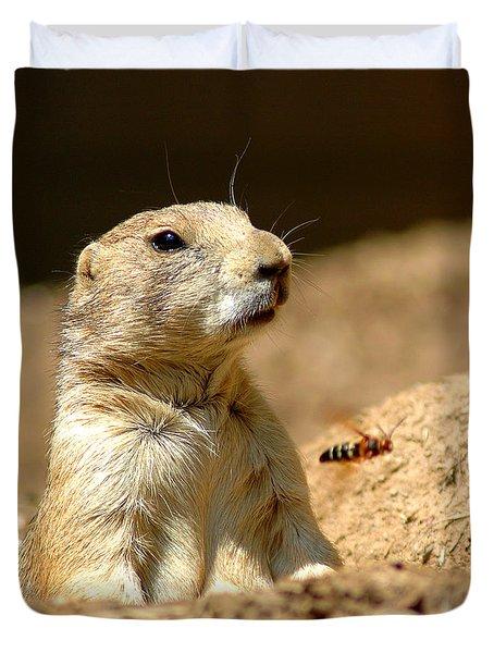 Prarie Dog Bee Alert Duvet Cover