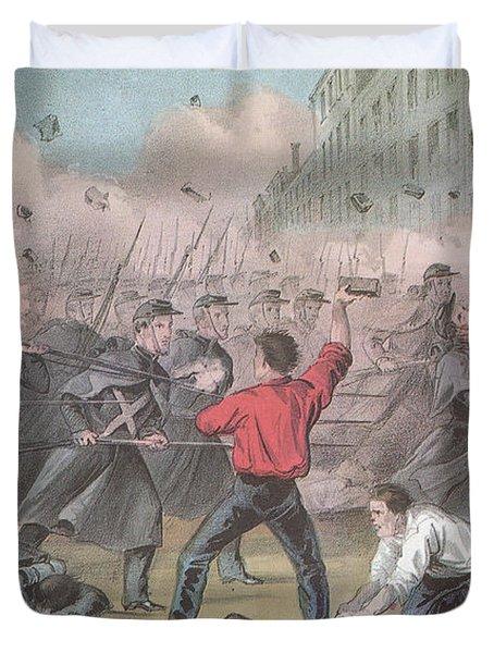 Pratt Street Riot, 1861 Duvet Cover by Photo Researchers