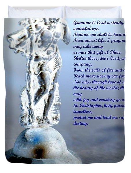 Prayer To St Christopher Duvet Cover by Maria Urso
