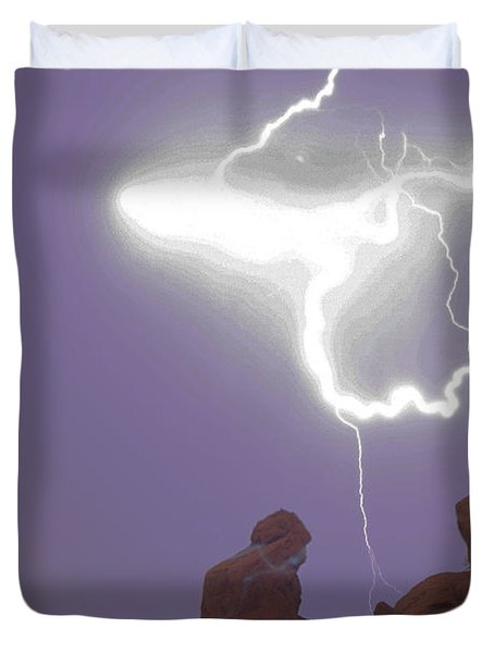 Praying Monk Lightning Halo Monsoon Thunderstorm Photography Duvet Cover by James BO  Insogna
