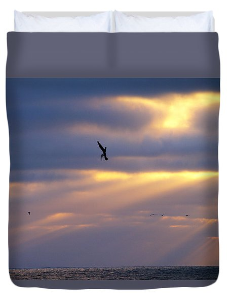 Duvet Cover featuring the photograph Predator Drone In The Minds Of Fish by Joe Schofield