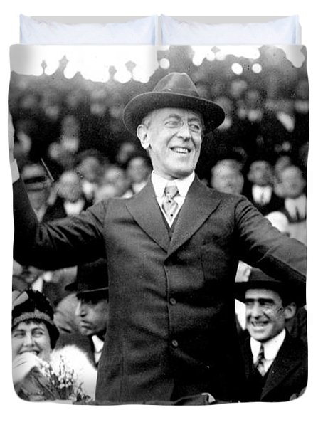 President Woodrow Wilson Throws Throws The First Pitch On Opening Day - C 1916 Duvet Cover by International  Images