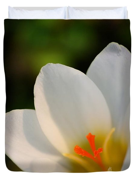 Pretty White Crocus Duvet Cover