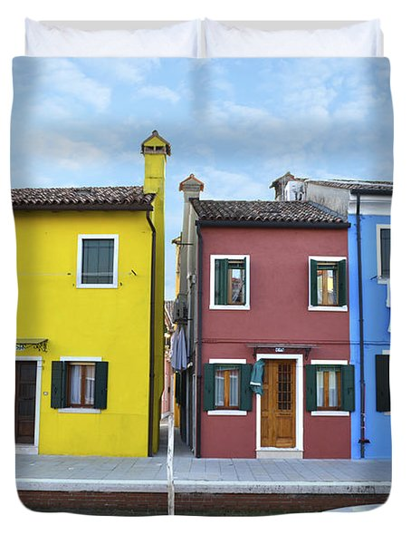 Duvet Cover featuring the photograph Primary Colors In Burano Italy by Rebecca Margraf