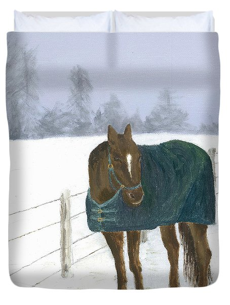 Duvet Cover featuring the painting Prince by Laurel Best