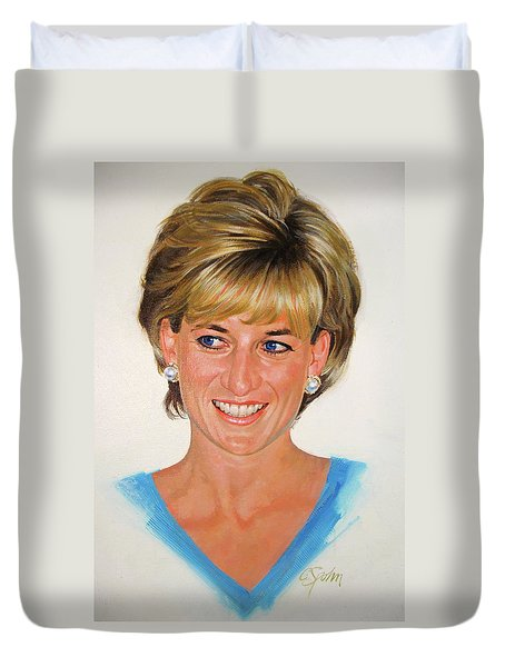 Duvet Cover featuring the painting Princess Diana by Cliff Spohn