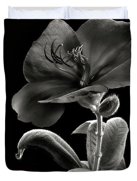 Princess Flower In Black And White Duvet Cover