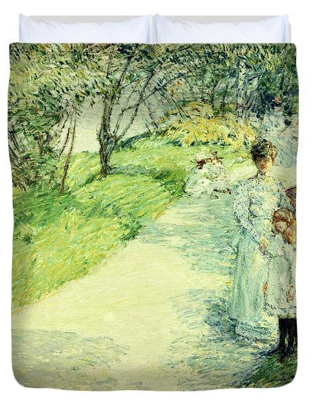 Promenaders In The Garden Duvet Cover by Childe Hassam