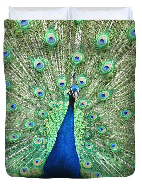 Duvet Cover featuring the photograph Proud Peacock by Bonnie Muir