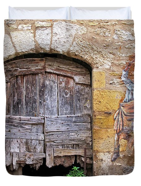 Duvet Cover featuring the photograph Provence Window And Wall Painting by Dave Mills