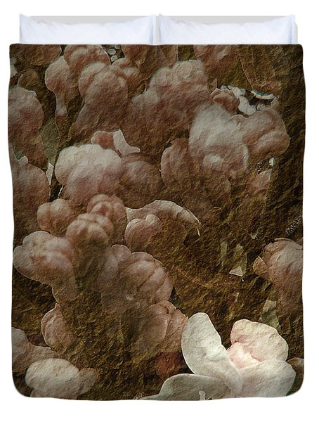 Pruning Lilacs Duvet Cover by Lianne Schneider
