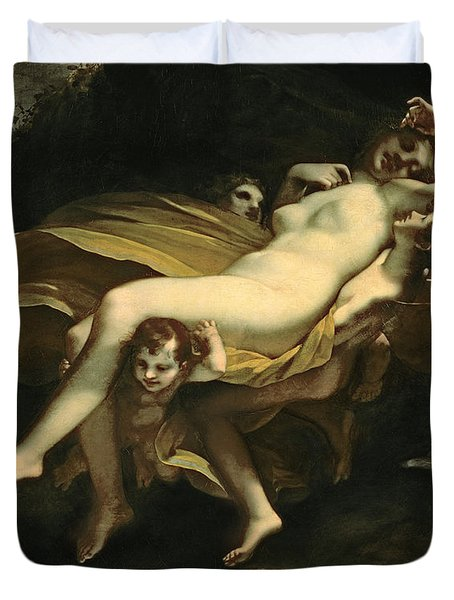 Psyche Transported To Heaven Duvet Cover by Pierre-Paul Prud hon